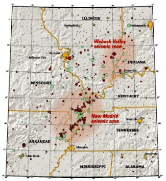 New Madrid Seismic Zone - maps of past quake activity