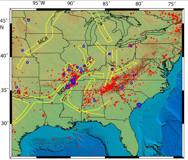 New Madrid Seismic Region Fault Line Maps Page - Show me a us map