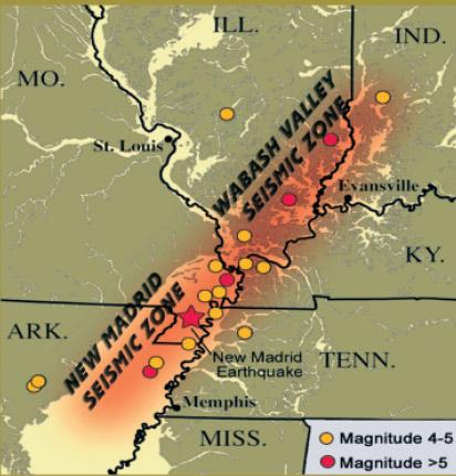 New Madrid Seismic Zone - maps of past quake activity